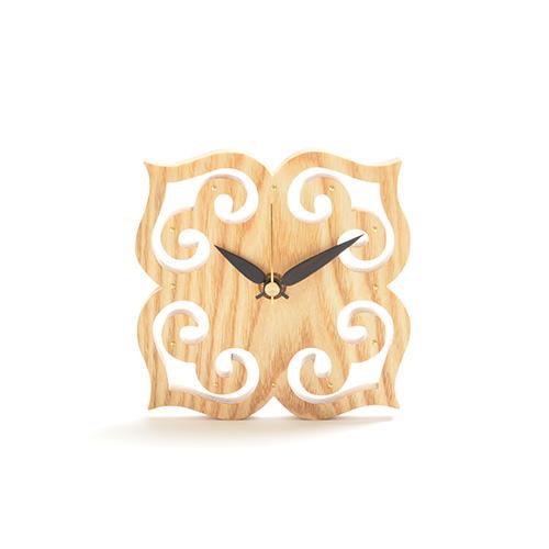アイヌ紋様 クオーツ時計(小)ライトブラウン