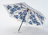 晴雨兼用折畳み日傘 プレミアムホワイト シャドーローズ/ブルー