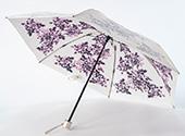 晴雨兼用折畳み日傘 プレミアムホワイト シャドーローズ/パープル