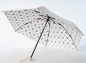 晴雨兼用折畳み日傘 プレミアムホワイト アラベスク/ブラック
