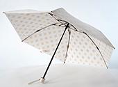 晴雨兼用折畳み日傘 プレミアムホワイト アラベスク/ゴールド