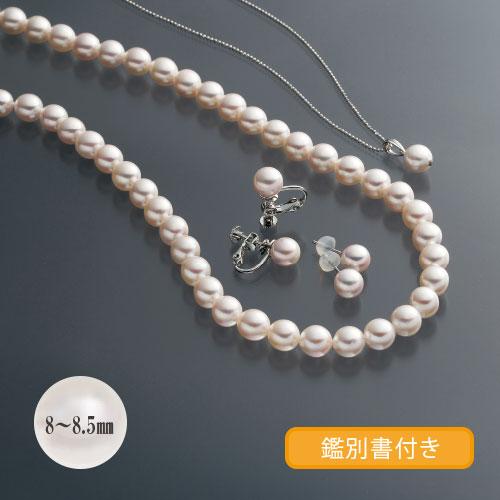 大珠8-8.5�o真珠3点セット ピアス